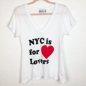 WILDFOX NY is for lovers vneck graphic tee white M